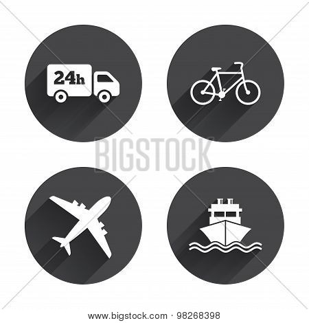 Cargo truck, shipping, bicycle. Delivery service