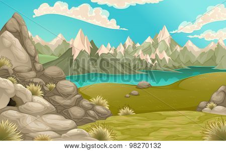 Mountain landscape with lake. Vector cartoon illustration