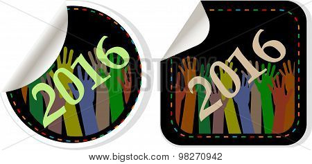2016 New Year Symbol, Icons Or Button Set Isolated On White Background, Represents The New Year 2016