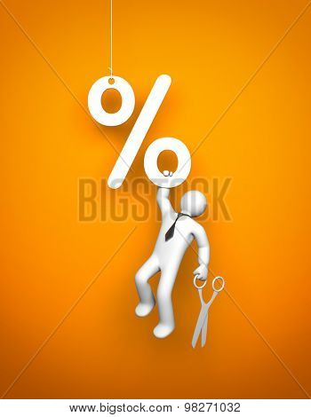 Businessman with a scissors hanging on the percent signs