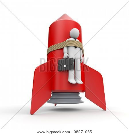 Businessman strapped to a rocket