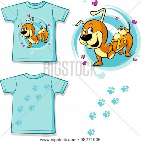 Shirt With Cute Dachshund Carries On His Back A Teddy Bear - Vector Illustration