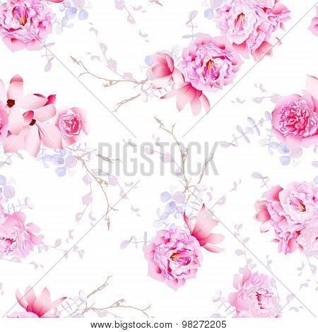 Spring Magnolia And Peonies Seamless Vector Print