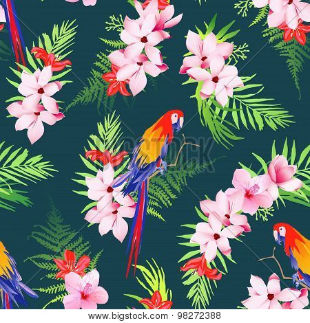 Exotic Parrots And Tropical Flowers Seamless Vector Pattern