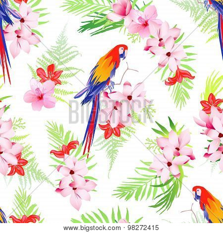 Exotic Parrots And Flowers Seamless Vector Pattern