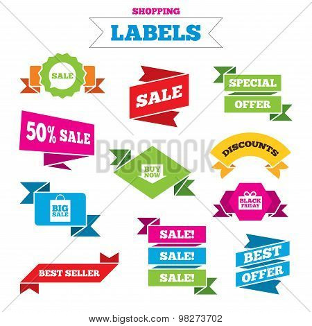 Sale speech bubble icons. Buy now arrow symbol