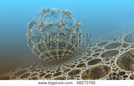 Background with fantastic 3D sphere, abstract fractal design.