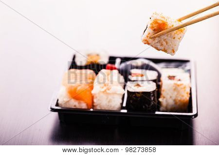 Eating Maki Sushi