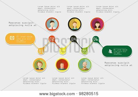 Time-line Infographic element. With avatars. Vector illustration