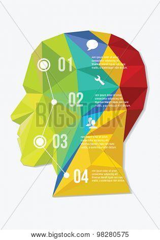 vector illustration low polygon head design infographic