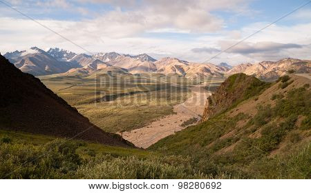 Valley And Mountains Of The Alaska Denali Range