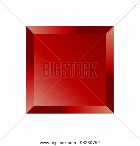 Red Beveled Square Button