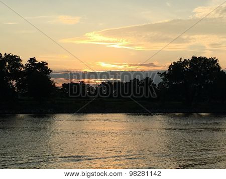 Sunset at Harbor in Stamford, Connecticut