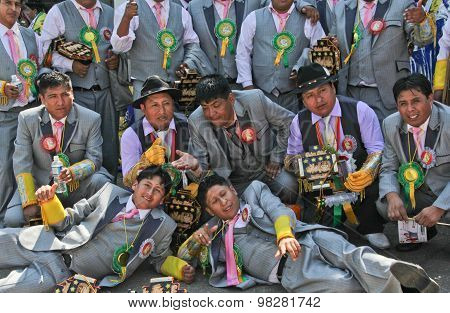 Group Of Man In Bolivian Independence Day Parade In Brazil