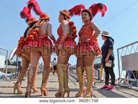 Group Of Girls In Bolivian Independence Day Parade In Brazil