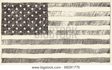 United States America USA flag vector hand drawn