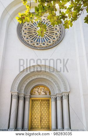 Carved Arched Church Doorway.