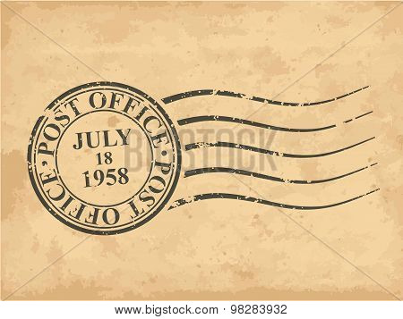 Grungy Postal Stamp, Vector Illustration