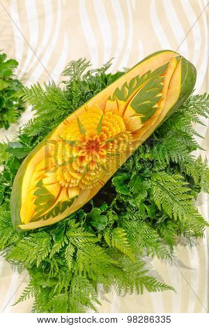 Papaya fruit carving.