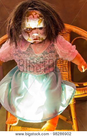 Abandoned scary doll.