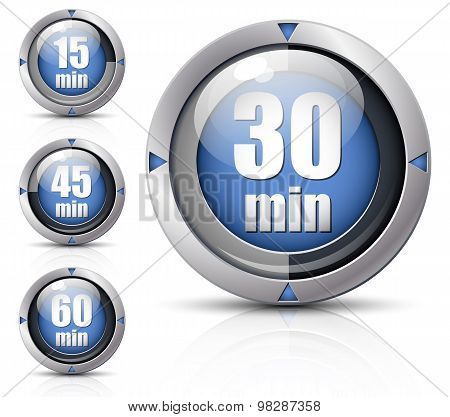 Set Of Creative Timers. Vector Illustration