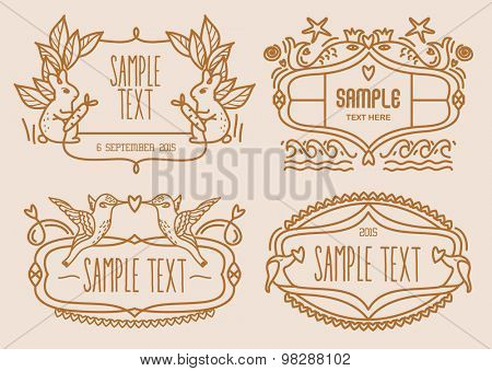 Vector illustration of cute animal label