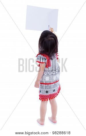 Full Body. Back View Of Girl Painting With Paintbrush, Isolated On White