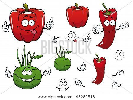 Cartoon kohlrabi, chili and red pepper vegetables