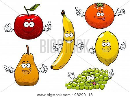 Apple, pear, banana, orange, grape and lemon