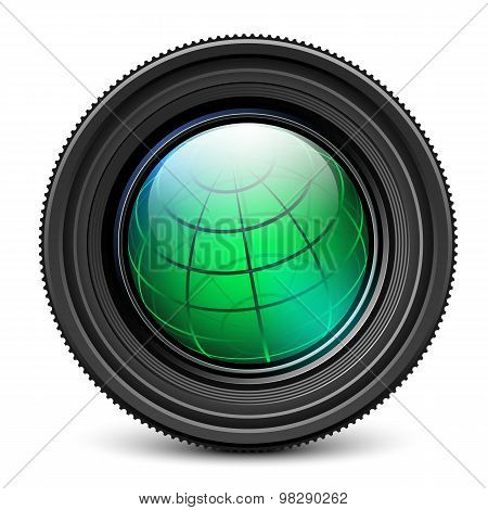 Camera Lens With Earth Globe Inside