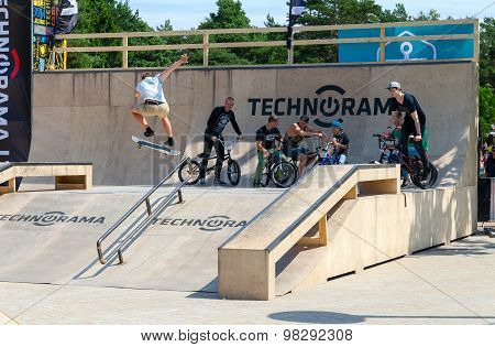 Skateboarder Performs Leap Into Ramp, Palanga, Lithuania
