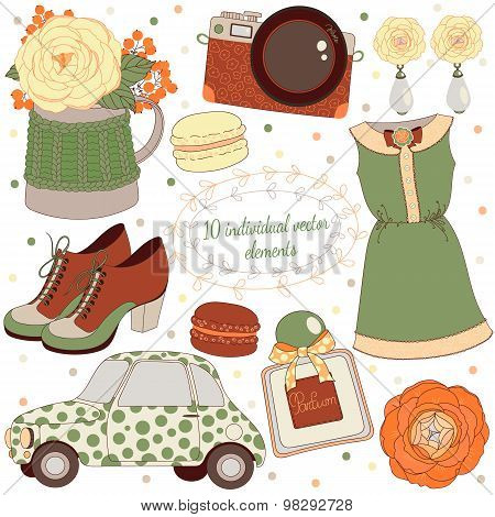 Background with jewellery, perfume, dress, shoes,retro car, camera and flowers. Fashion accessories.