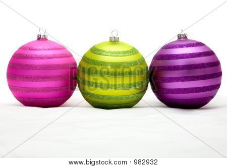 Christmas Balls In Purple - Pink And Green