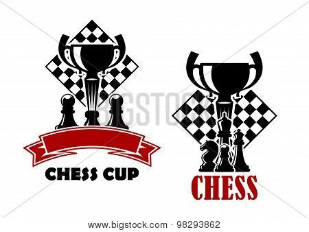 Chess game icons with cup and chessmen