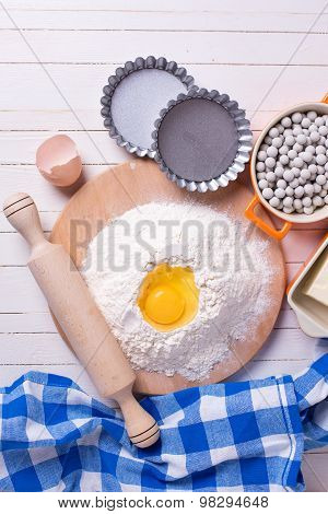 Ingredients For Baking On Wooden Background