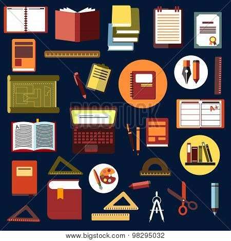Education flat icons with school supplies