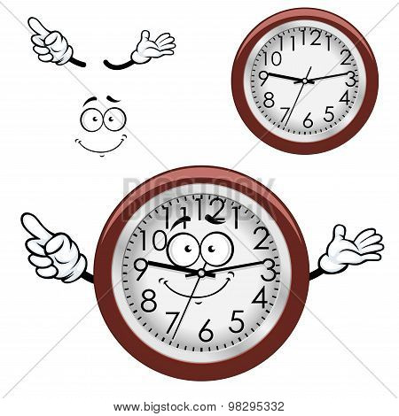 Cartoon wall clock with brown rim