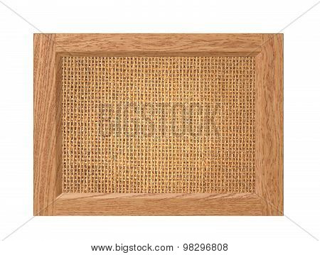 Linen Texture In Wooden Frame Isolated On White Background