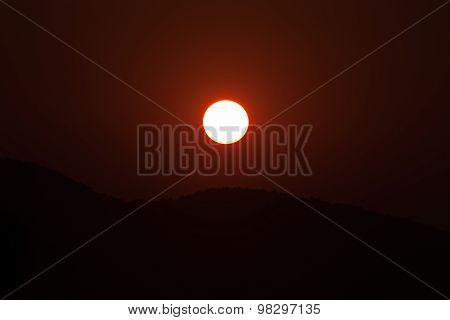 Landscape of sunrise over mountain.