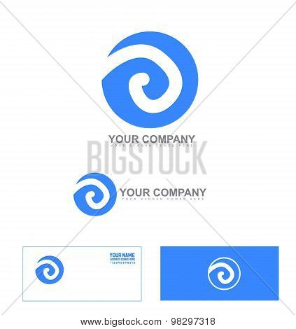 Abstract Sign Blue Circle Logo Icon Set