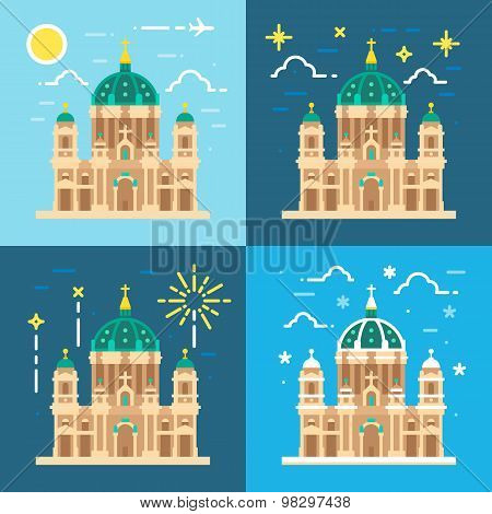 Berliner Dom Cathedral Flat Design