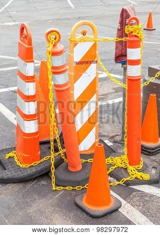 Traffice Warning Barricades And Cones For Warning In Construction Site.