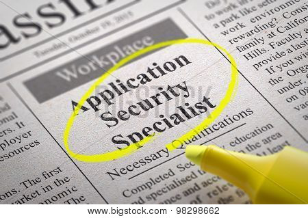Application Security Specialist Vacancy in Newspaper.