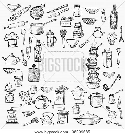 Big set of kitchen utensils hand-drawn on white