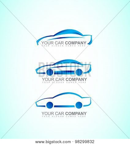 Car Auto Logo Icon Set Blue 3D