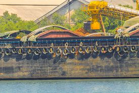 image of barge  - Empty cassava barges floating in river  - JPG