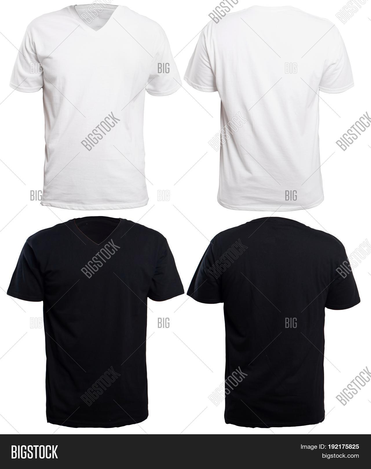 Black t shirt plain front and back - Blank V Neck Shirt Mock Up Template Front And Back View Isolated On White Plain