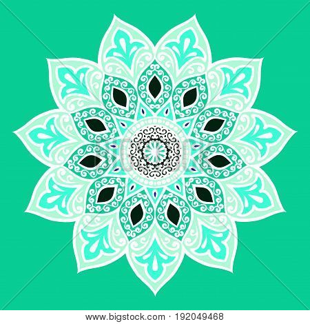 Drawing of a floral mandala in white and turquoise colors on a  turquoise background. Hand drawn tribal vector stock illustration