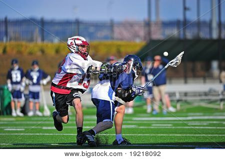 Lacrosse push from behind with possesion