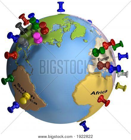 Mundo tachuelas amplia Europa América